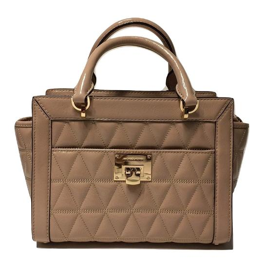 MICHAEL Michael Kors Patent Leather Vivianne Quilted Set Satchel in Tan