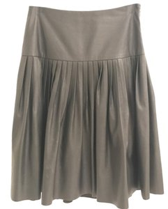 Rebecca Taylor Faux Leather Leather Pleats Leather Skirt Black
