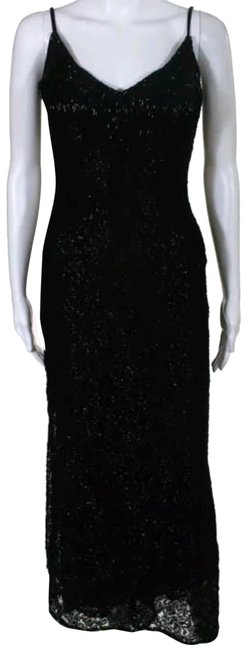 Preload https://item3.tradesy.com/images/badgley-mischka-black-lace-beaded-v-neck-spaghetti-straps-evening-gown-long-formal-dress-size-10-m-23007407-0-1.jpg?width=400&height=650