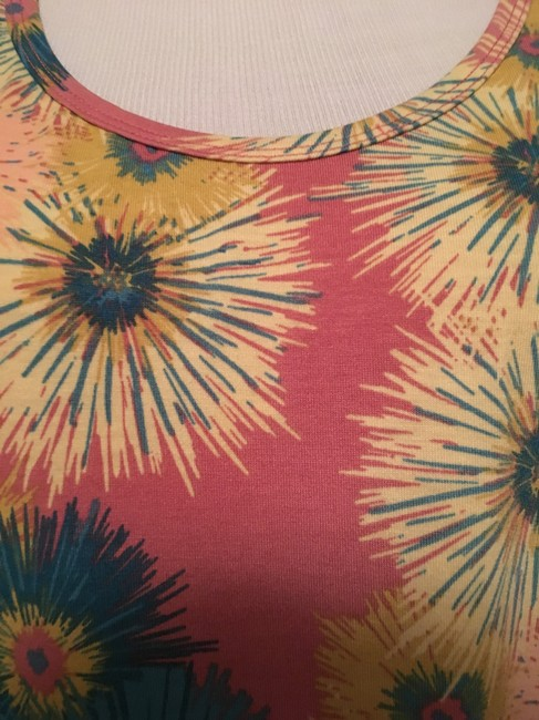 LuLaRoe Perfect T Blue Gloral Top Pink