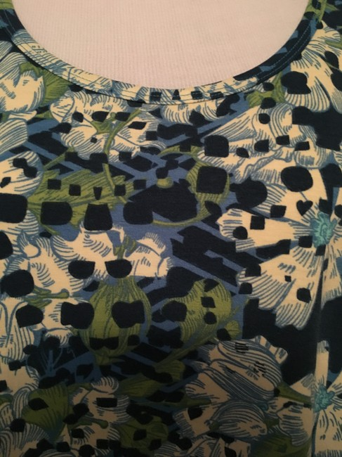 LuLaRoe Perfect T Grey Floral Top Blue and green