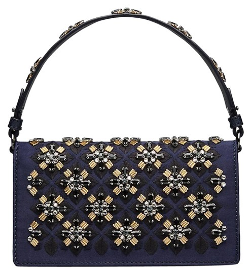 Preload https://item1.tradesy.com/images/tory-burch-cleo-embellished-fold-over-clutch-navy-satin-cross-body-bag-23007525-0-1.jpg?width=440&height=440