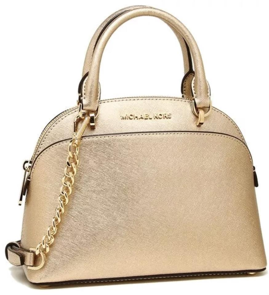 06b13b66894f Michael Kors Emmy Small Dome Satchel Pale Gold Saffiano Leather Tote 58%  off retail