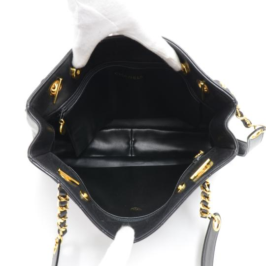 Chanel Quilted Leather Shoulder Tote in Black