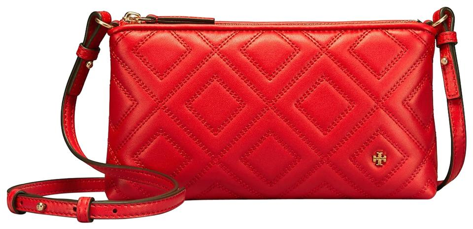 df794ffa356 Tory Burch Fleming Chain Exotic Red Leather Cross Body Bag - Tradesy
