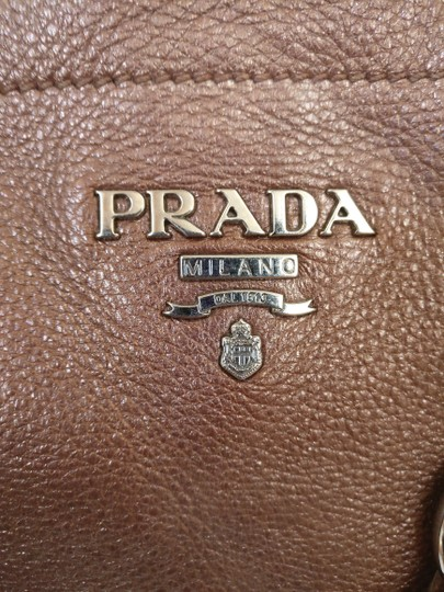 Prada Leather Buckle Satchel Tote in Brown
