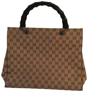 Gucci Tote in handles are black the rest is camel and brown and black