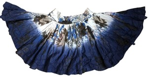 Desigual Painting Embroidered White Skirt Blue