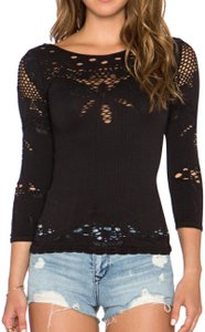 Free People Cut-out Knit Floral Top Black