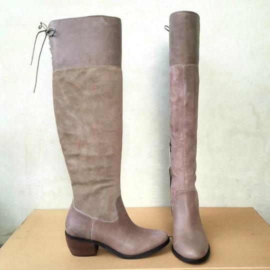 Lucky Brand Taupe Suede & Leather Boots