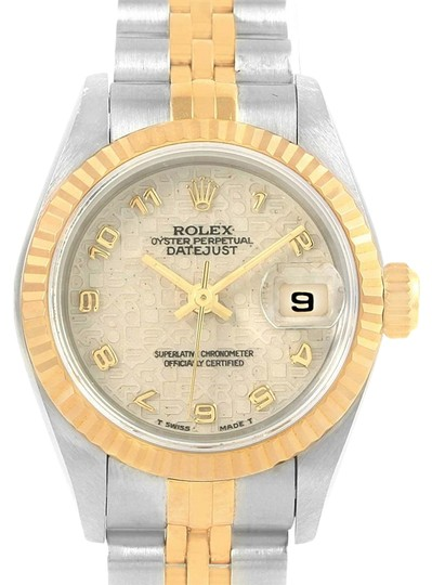 Preload https://item5.tradesy.com/images/rolex-ivory-datejust-steel-yellow-jubilee-dial-ladies-69173-watch-23007809-0-1.jpg?width=440&height=440