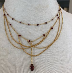 Chan Luu New Auth Chan Luu Burgundy Crystal Draped Multi Strand Lariat Necklace