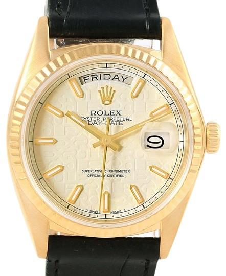 Preload https://item1.tradesy.com/images/rolex-black-president-day-date-yellow-dial-mens-18038-watch-23007950-0-1.jpg?width=440&height=440