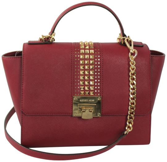 Preload https://item1.tradesy.com/images/michael-kors-tina-md-satchel-studded-cherry-saffiano-leather-tote-23007980-0-1.jpg?width=440&height=440