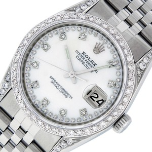 Rolex Rolex White MOP Mens Datejust & 18k Gold String Diamond Watch
