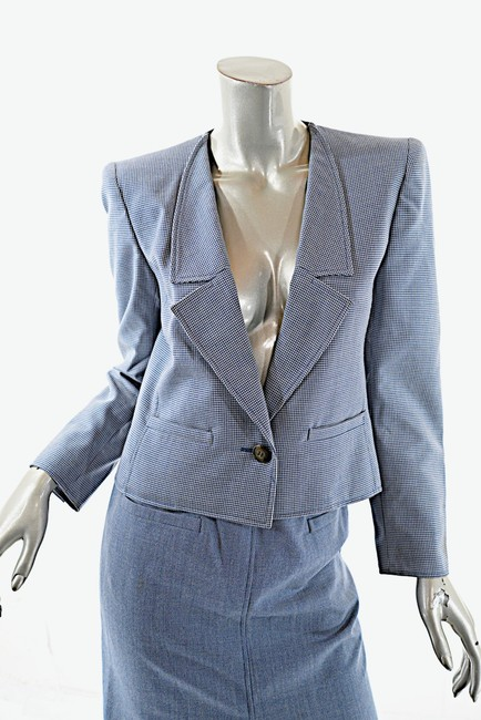 Valentino VALENTINO Boutique Vintage Blue and White Houndstooth Wool Skirt Suit