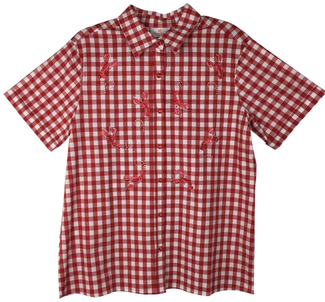 Preload https://img-static.tradesy.com/item/23008091/quacker-factory-red-white-gingham-lobster-button-down-top-size-10-m-0-1-650-650.jpg