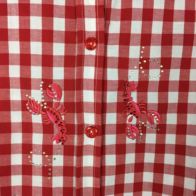 Quacker Factory Button Down Shirt Red, White