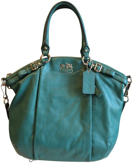 Preload https://item4.tradesy.com/images/coach-madison-lindsey-aegean-green-leather-satchel-23008118-0-1.jpg?width=440&height=440
