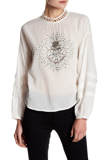 Free People Longsleeve Embellished Cotton Button Up Back Top ivory