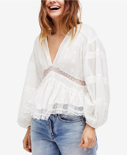 Free People Longsleeve V-neck Embroidered Cotton Top ivory