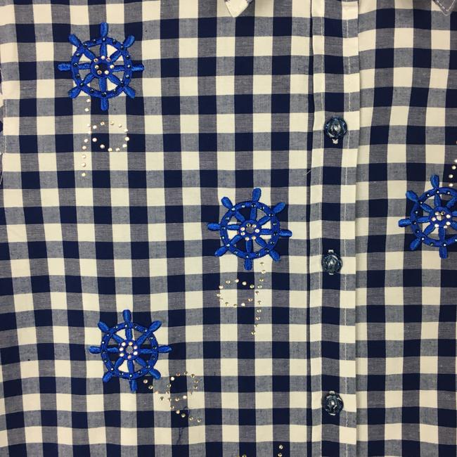 Quacker Factory Button Down Shirt Navy Blue, White