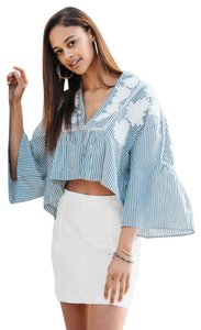 Free People Embroidered 3/4 Sleeve Striped V-neck Cotton Top blue combo