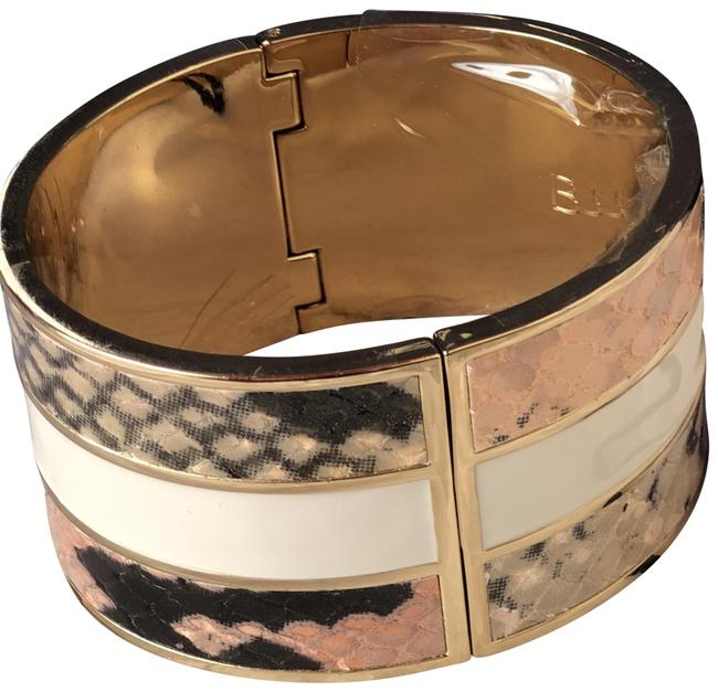 Item - Pink White Hinged Bangle Leather Fairhaven Inlay Cuff Bracelet