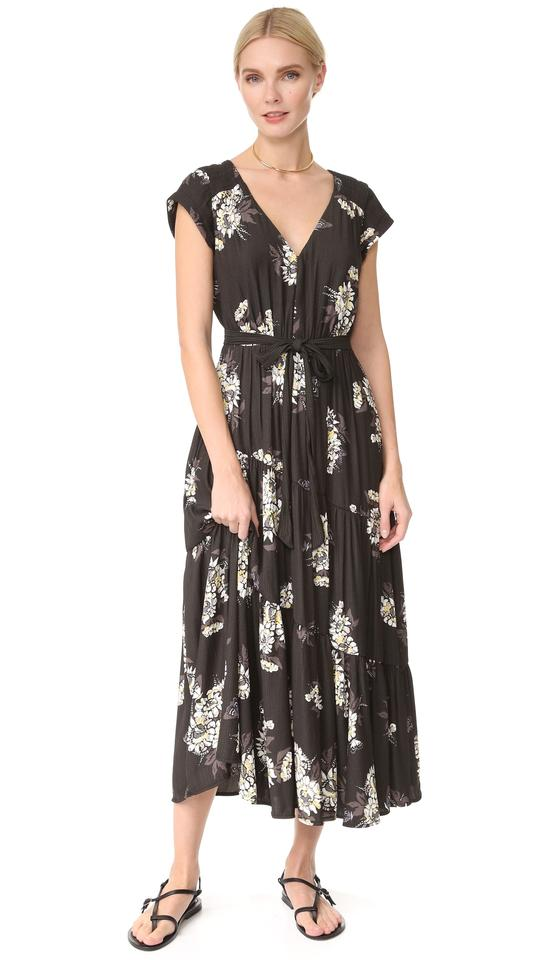2e94912278 black combo Maxi Dress by Free People V-neck Short Sleeve Floral Print Tie  Image ...