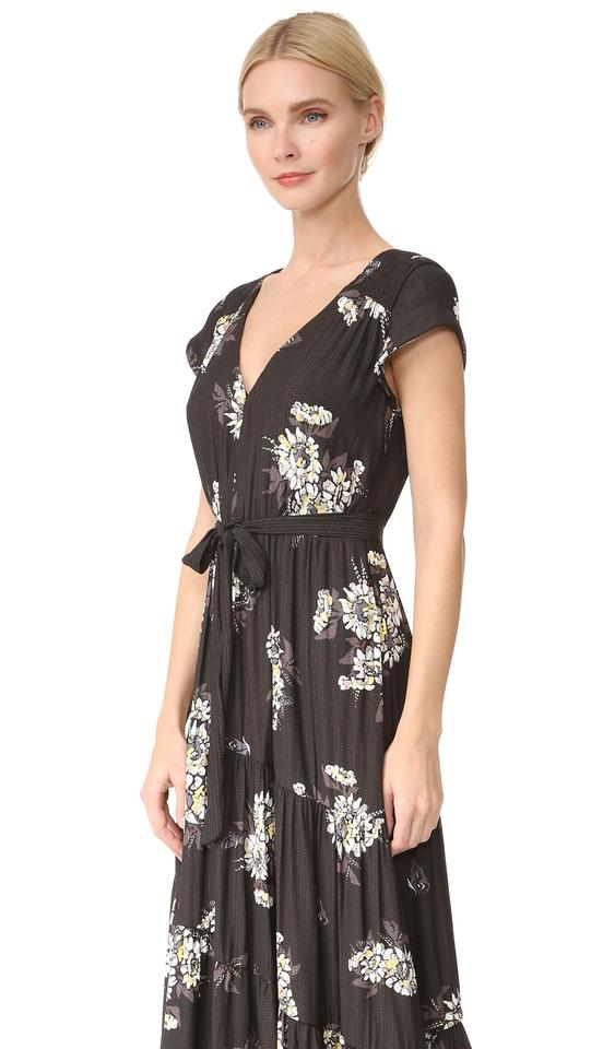 bd5769dbdf black combo Maxi Dress by Free People V-neck Short Sleeve Floral Print Tie  Image. 1234567891011