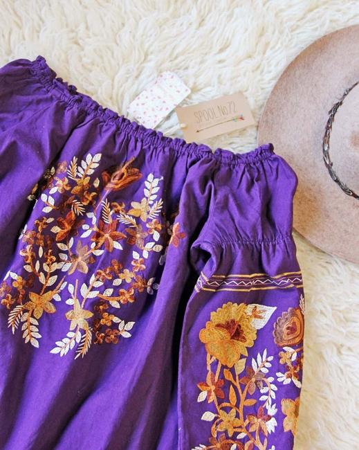 Free People short dress purple Cotton Embroidered Elastic Pockets Off The Shoulder on Tradesy