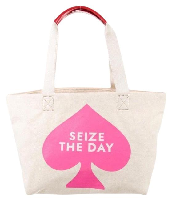 Item - Seize The Day Cream and Pink Canvas Tote