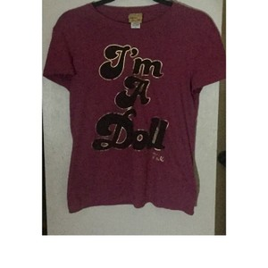 Patricia Field T Shirt dark maroon pink and gold/black metallic lettering