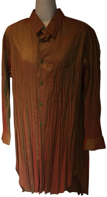 Issey Miyake Iridescent Pleats Vintage Shirt Blouse Button Down Shirt golden mustard, rusts, greens