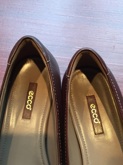 Ecco Leather Flower Bow brown Flats