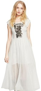 Ivory Maxi Dress by Free People Embroidered Flowy Embellished