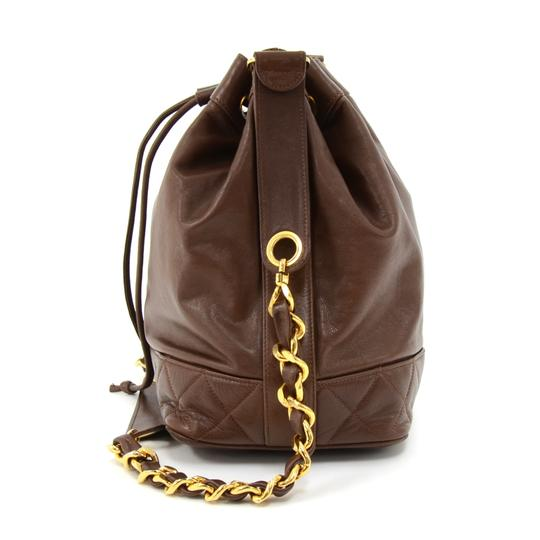 Chanel Lambkin Leather Drawstring Bucket Shoulder Bag