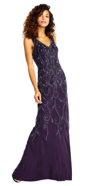 Preload https://item1.tradesy.com/images/adrianna-papell-amethyst-vine-motif-beaded-gown-with-v-neck-long-formal-dress-size-4-s-23008590-0-0.jpg?width=400&height=650
