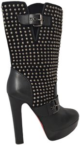 Christian Louboutin High Heels Spikes Studs Pigalle Platform Black Boots