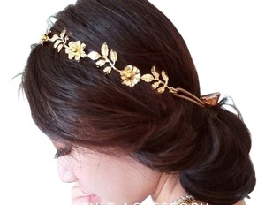 Jewel Flower and Olive Leaves Headband