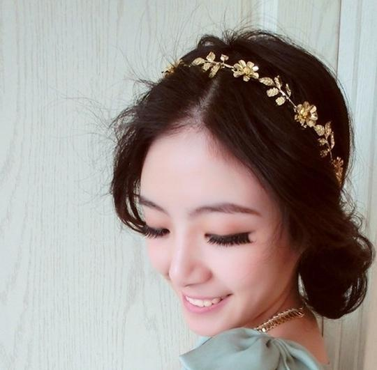 Other Jewel Flower and Olive Leaves Headband