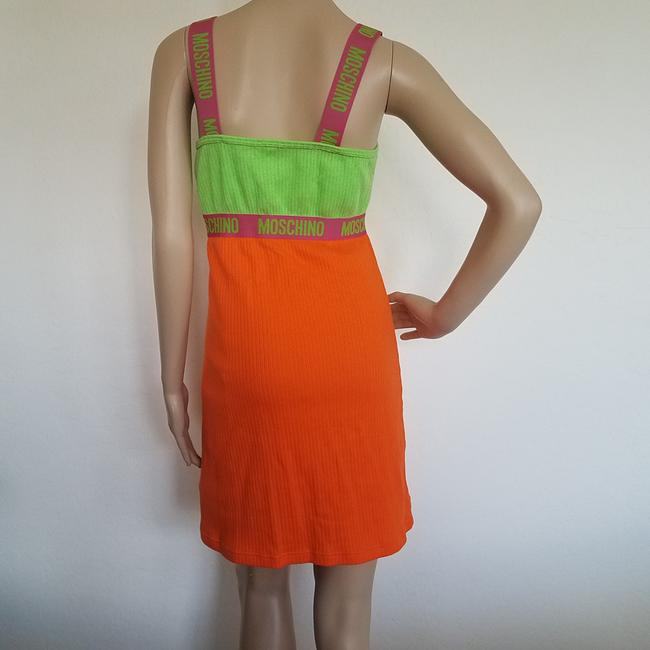 Multicolor, Green, Orange Maxi Dress by Moschino Color-blocking Sleeveless Sundress Logo Monogram
