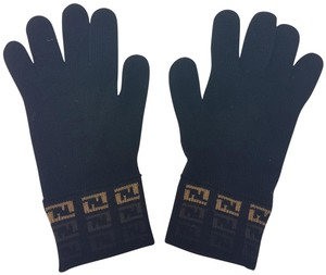 Fendi Black wool Fendi Zucca print knit gloves
