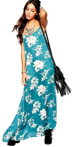 Teal Maxi Dress by Free People Floral Print Sleeveless Maxi