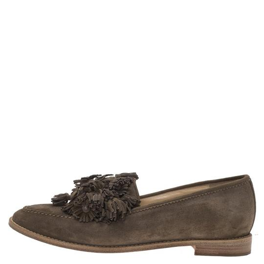 Christian Louboutin Japonaise Tassel Loafers Suede Brown Flats