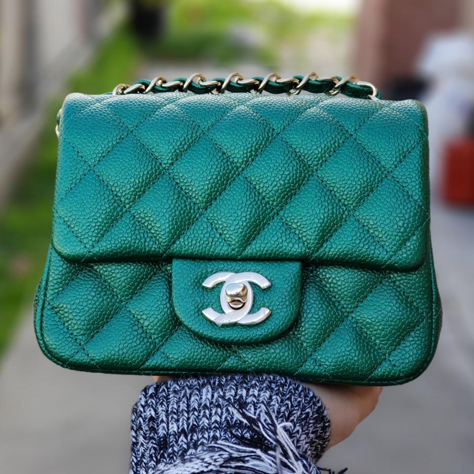 9ee4f019abdb Chanel Classic Flap Mini Square Cc 2018 Emerald Green Caviar Cross ...