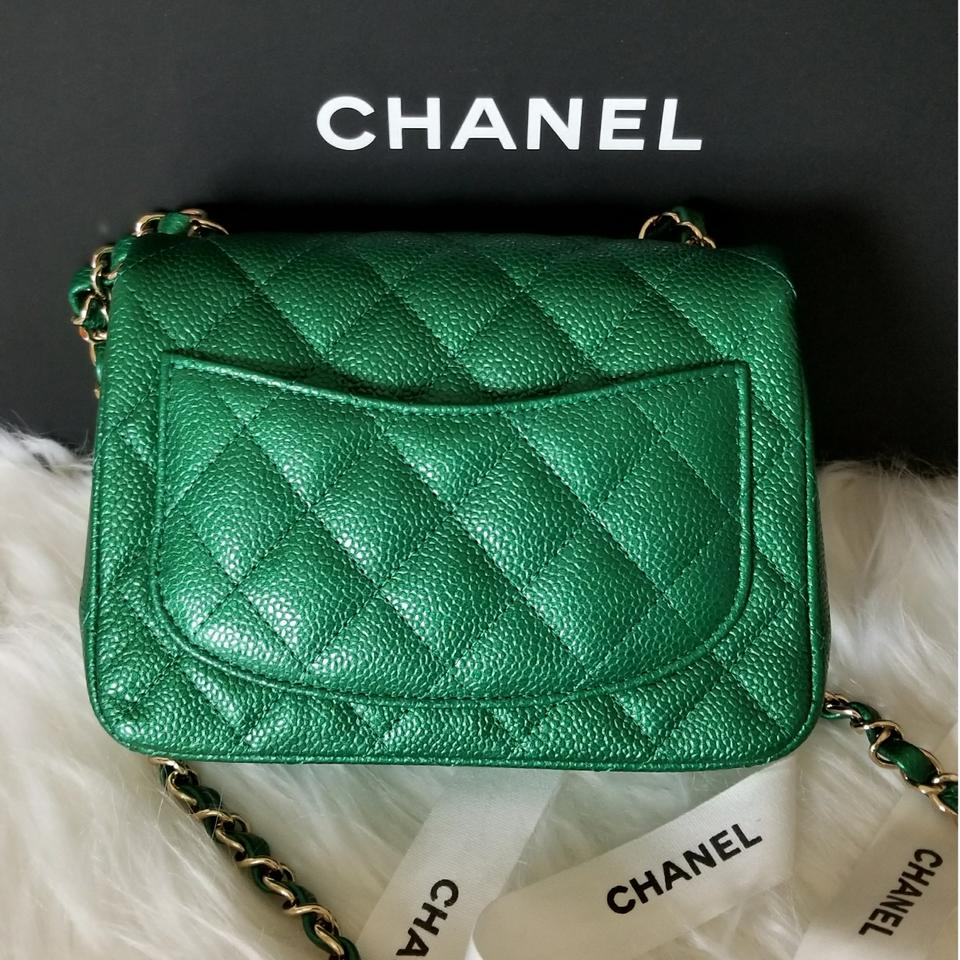 05b0378dedd3 Chanel Classic Flap Mini Square Cc 2018 Emerald Green Caviar Cross Body Bag  - Tradesy