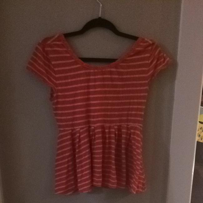 Free People Top Red And Beige Stripe