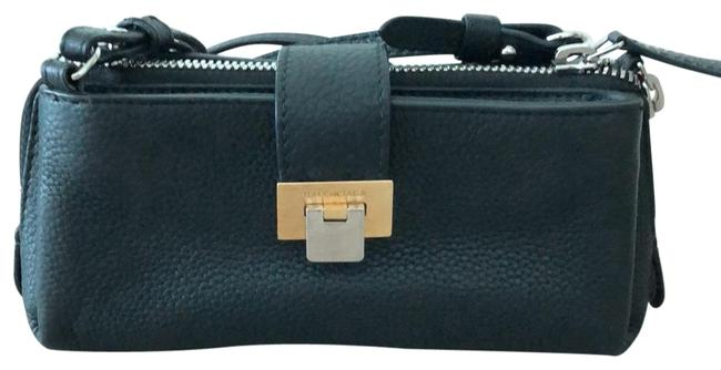 Item - Black Silver and Gold Clasp. Leather Cross Body Bag