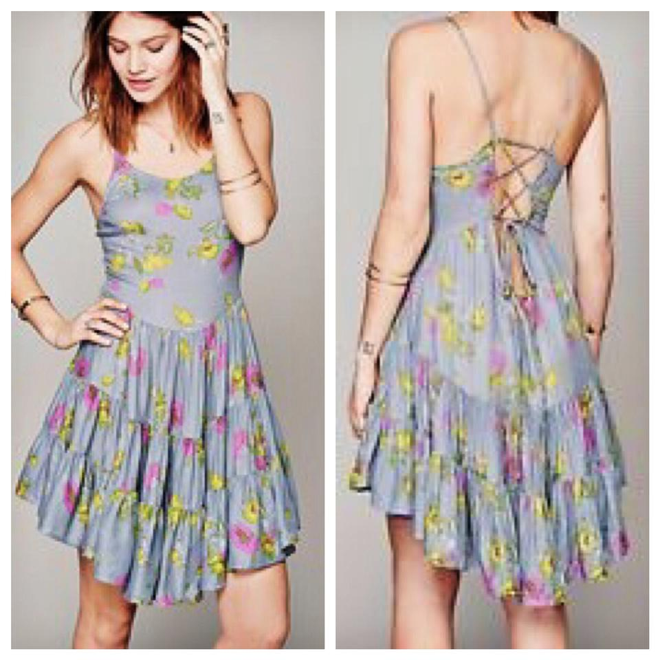 Free People Blue Circle Of Flowers Corset Skater Short Casual Dress